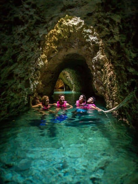 Things to do in Cancun, Mexico - Swimming in the Underground River in Xcaret