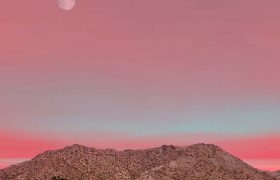 Mexico Nature: Moon over the Sonora desert