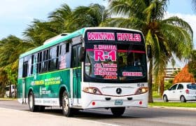 Cancun - Bus between downtown and the hotel zone