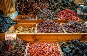 Choice of dried chilis on a mexican market in Oaxaca