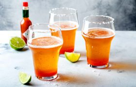 Mexican drinks - Beer served as Michelada with salt and chili