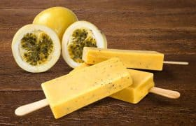Mexican cooking: stick ice cream passion fruit flavor