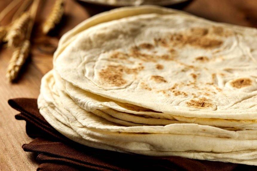 Mexican cooking: Stack of Homemade Whole Wheat Flour Tortillas