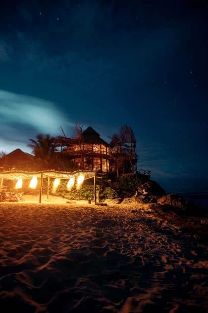 Tulum, Quintana Roo, Mexico - Nightlife on the beach