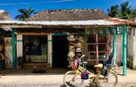 Getting around by bike on the sandy roads in Holbox