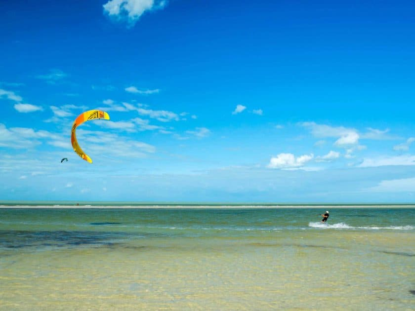Kitesurfing on Island Holbox in Mexico