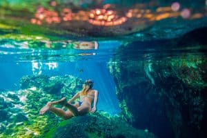Snorkeling in a freshwater cenote